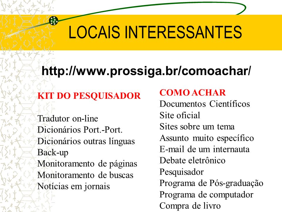 LOCAIS INTERESSANTES http://www.prossiga.br/comoachar/ COMO ACHAR