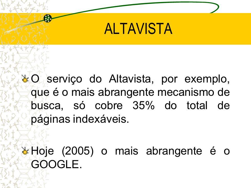 ALTAVISTA O serviço do Altavista, por exemplo, que é o mais abrangente mecanismo de busca, só cobre 35% do total de páginas indexáveis.