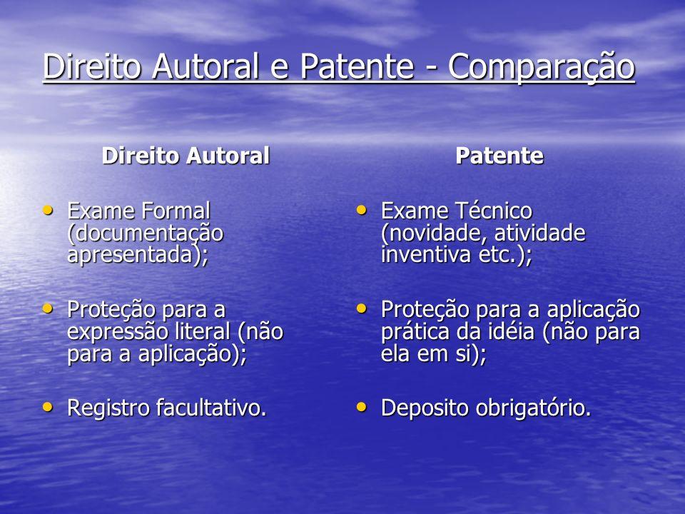 Direito Autoral e Patente - Comparação