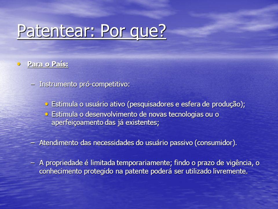 Patentear: Por que Para o País: Instrumento pró-competitivo: