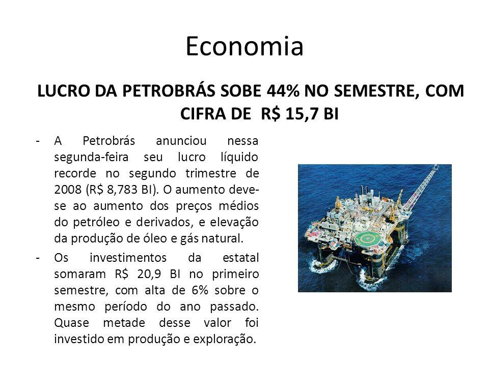 LUCRO DA PETROBRÁS SOBE 44% no semestre, com cifra de R$ 15,7 BI