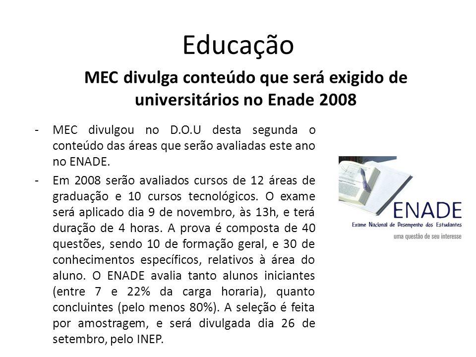 MEC divulga conteúdo que será exigido de universitários no Enade 2008