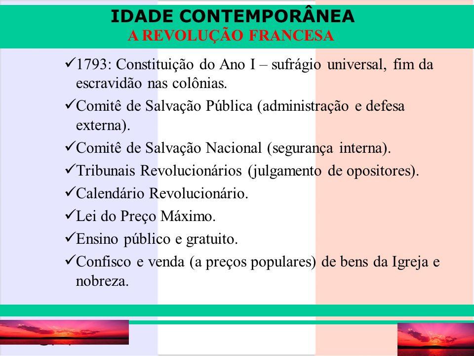 1793: Constituição do Ano I – sufrágio universal, fim da escravidão nas colônias.