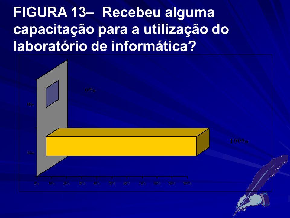 FIGURA 13– Recebeu alguma capacitação para a utilização do laboratório de informática