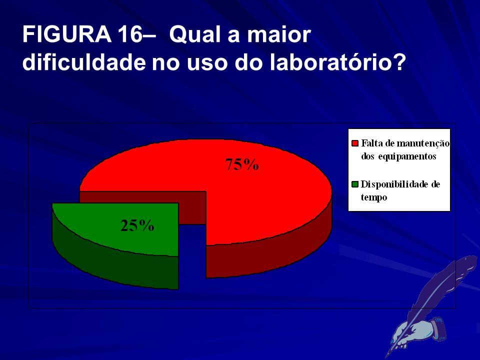FIGURA 16– Qual a maior dificuldade no uso do laboratório