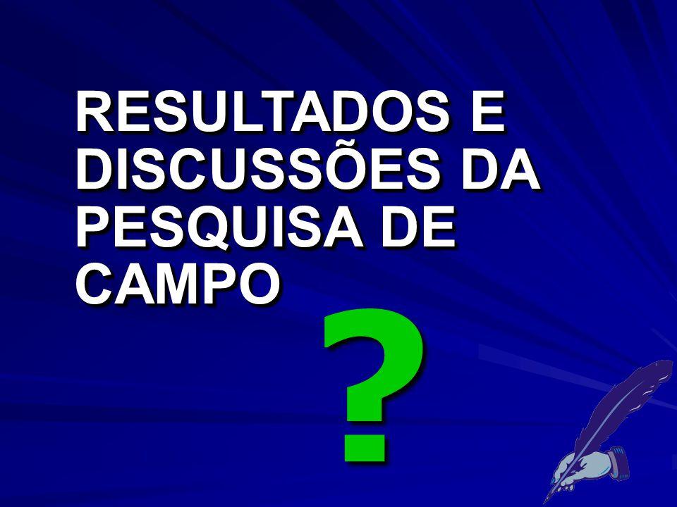 RESULTADOS E DISCUSSÕES DA PESQUISA DE CAMPO