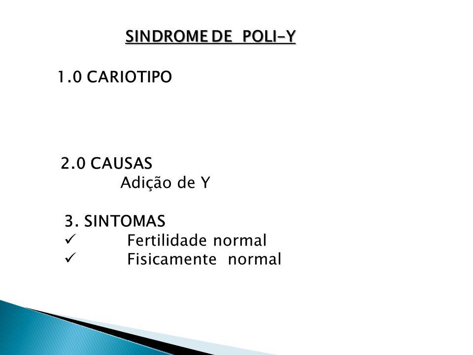 SINDROME DE POLI-Y 1.0 CARIOTIPO. 2.0 CAUSAS. Adição de Y.
