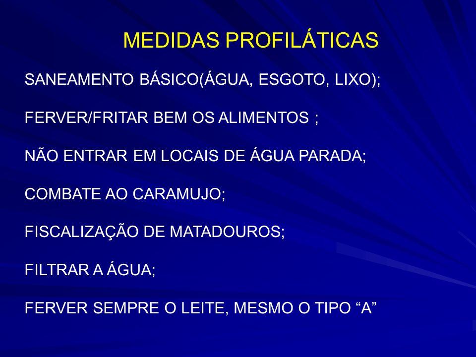 MEDIDAS PROFILÁTICAS SANEAMENTO BÁSICO(ÁGUA, ESGOTO, LIXO);