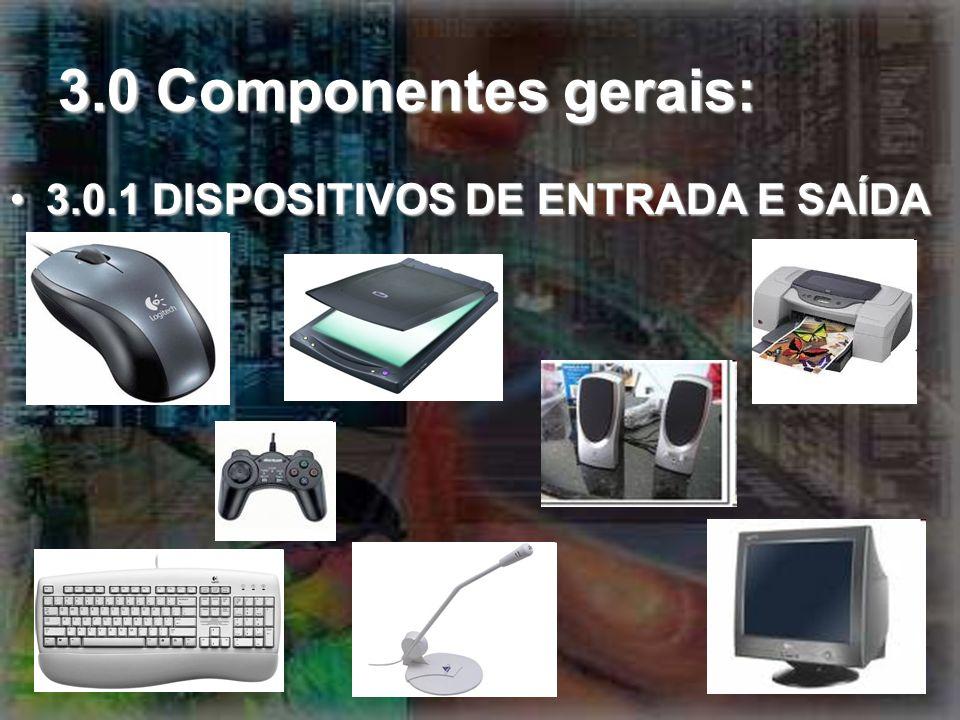 3.0 Componentes gerais: 3.0.1 DISPOSITIVOS DE ENTRADA E SAÍDA