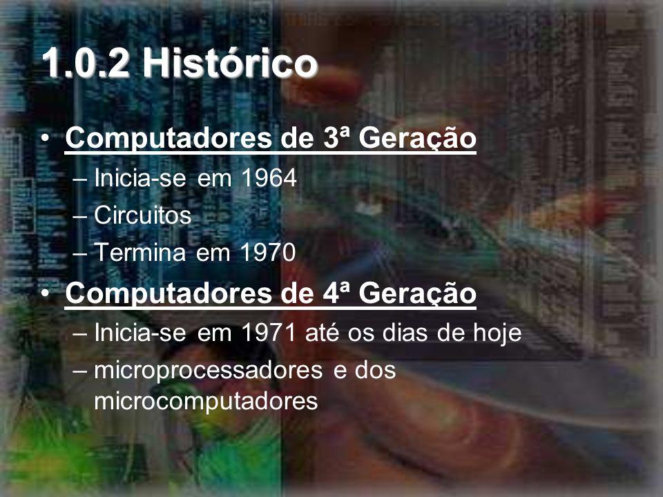 1.0.2 Histórico Computadores de 3ª Geração Computadores de 4ª Geração