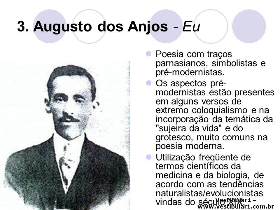 3. Augusto dos Anjos - Eu Poesia com traços parnasianos, simbolistas e pré-modernistas.