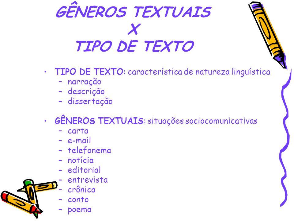 GÊNEROS TEXTUAIS X TIPO DE TEXTO