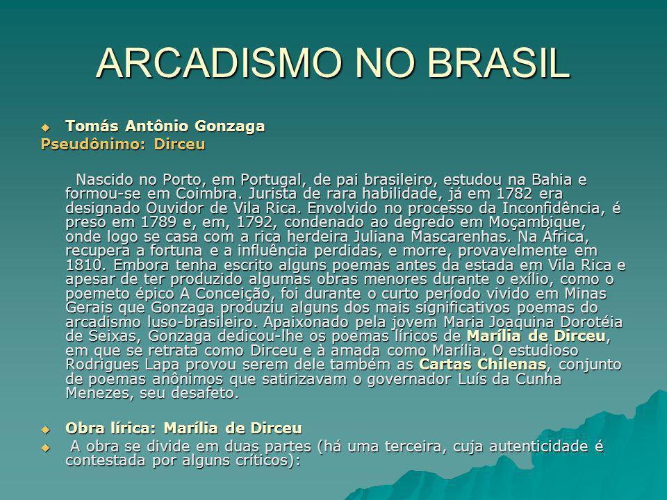 ARCADISMO NO BRASIL Tomás Antônio Gonzaga Pseudônimo: Dirceu