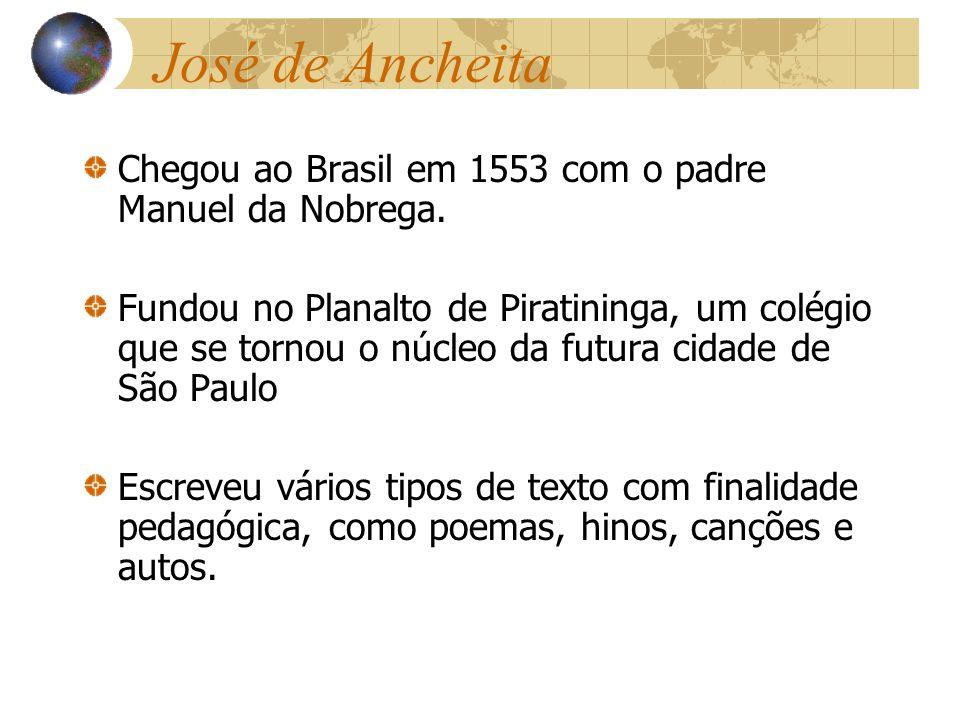 José de Ancheita Chegou ao Brasil em 1553 com o padre Manuel da Nobrega.