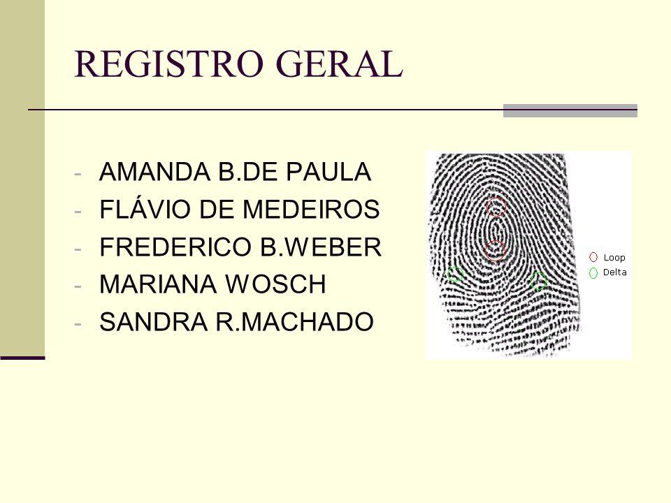 REGISTRO GERAL AMANDA B.DE PAULA FLÁVIO DE MEDEIROS FREDERICO B.WEBER