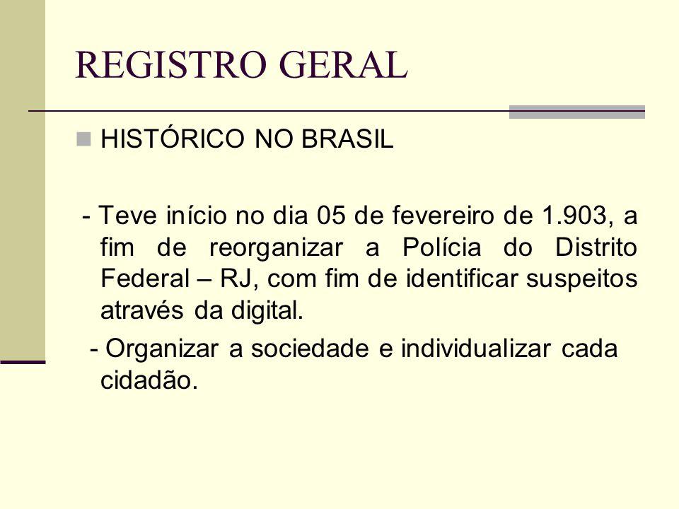 REGISTRO GERAL HISTÓRICO NO BRASIL