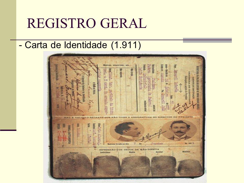 REGISTRO GERAL - Carta de Identidade (1.911)