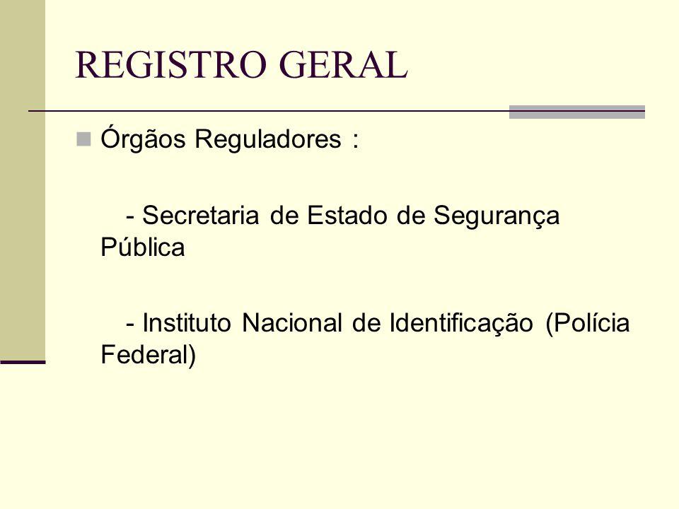 REGISTRO GERAL Órgãos Reguladores :