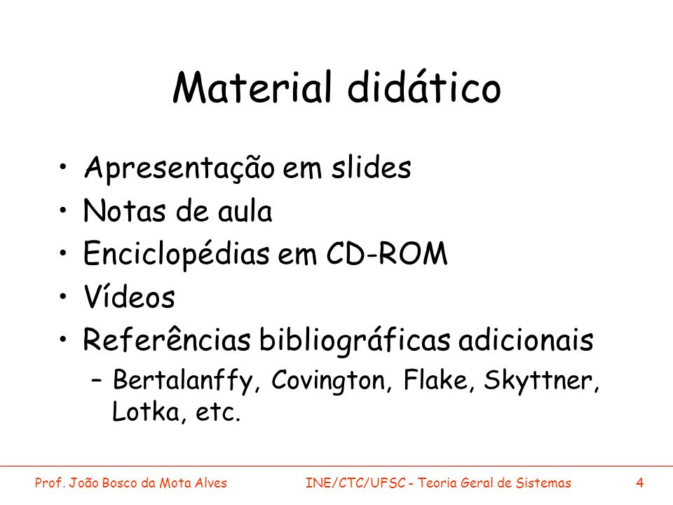 Material didático Apresentação em slides Notas de aula