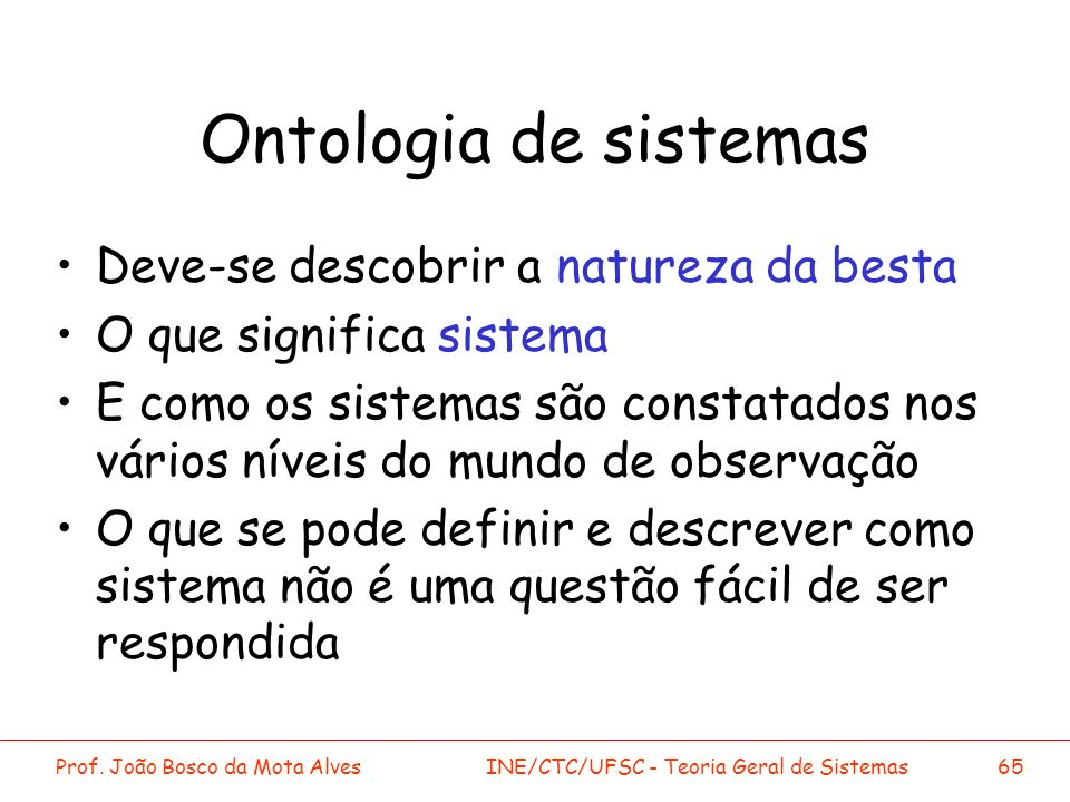 Ontologia de sistemas Deve-se descobrir a natureza da besta