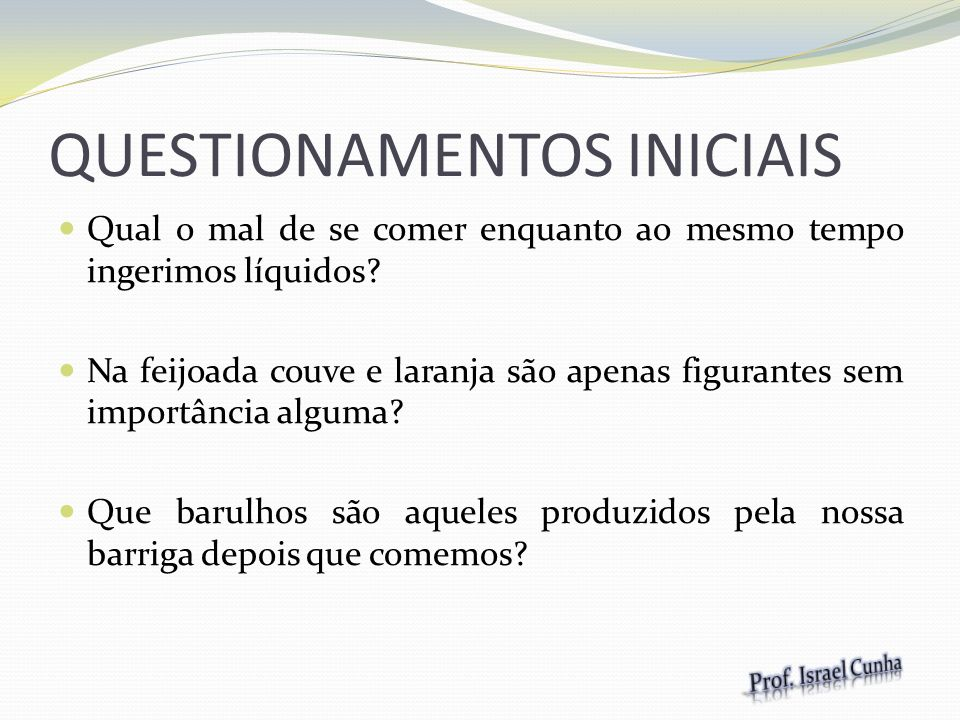 QUESTIONAMENTOS INICIAIS