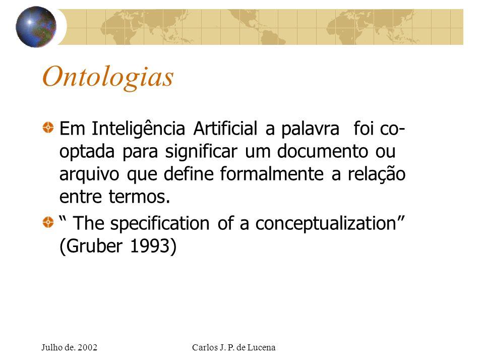 Ontologias Em Inteligência Artificial a palavra foi co-optada para significar um documento ou arquivo que define formalmente a relação entre termos.