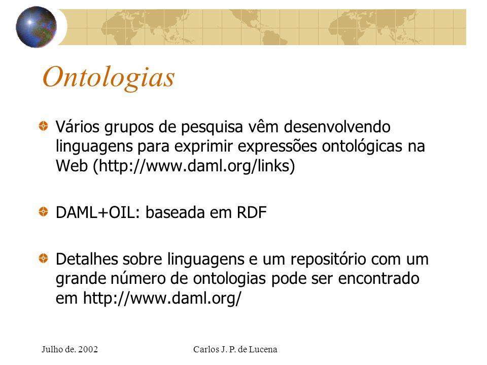 Ontologias Vários grupos de pesquisa vêm desenvolvendo linguagens para exprimir expressões ontológicas na Web (http://www.daml.org/links)
