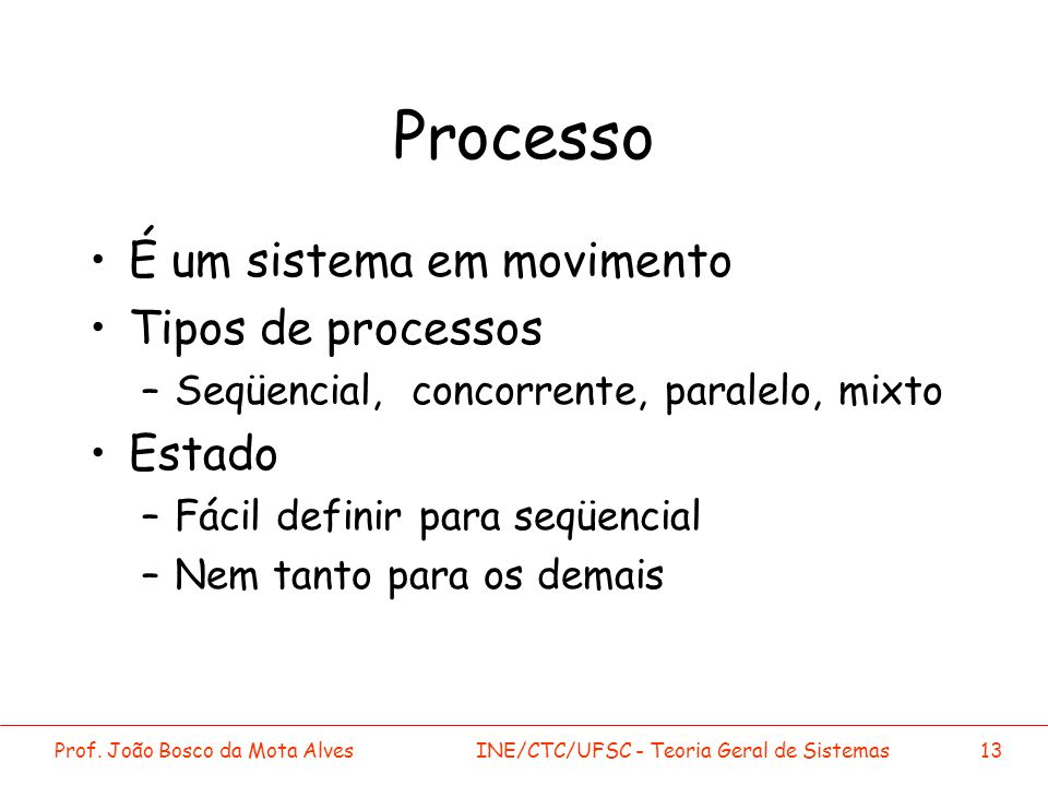 Processo É um sistema em movimento Tipos de processos Estado