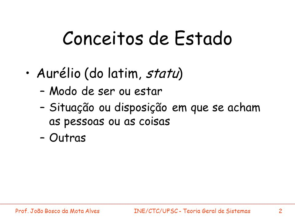 Conceitos de Estado Aurélio (do latim, statu) Modo de ser ou estar