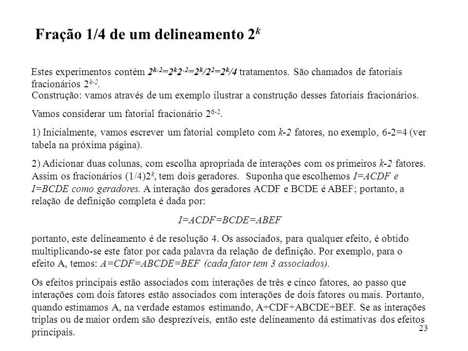 Fração 1/4 de um delineamento 2k