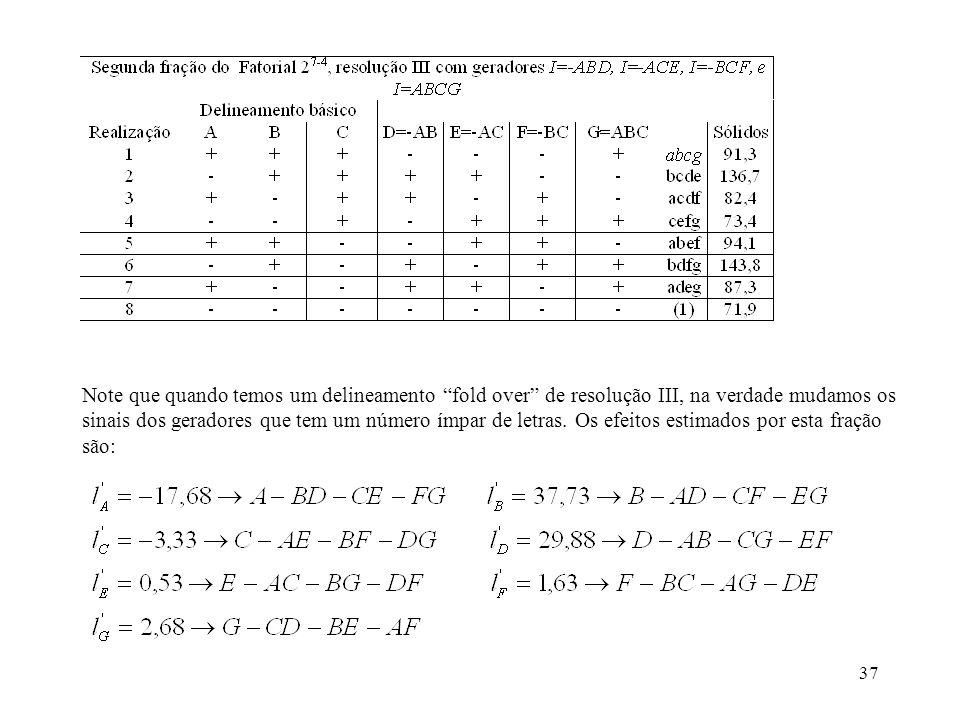Note que quando temos um delineamento fold over de resolução III, na verdade mudamos os sinais dos geradores que tem um número ímpar de letras.