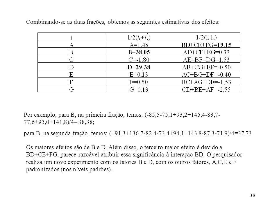 Combinando-se as duas frações, obtemos as seguintes estimativas dos efeitos: