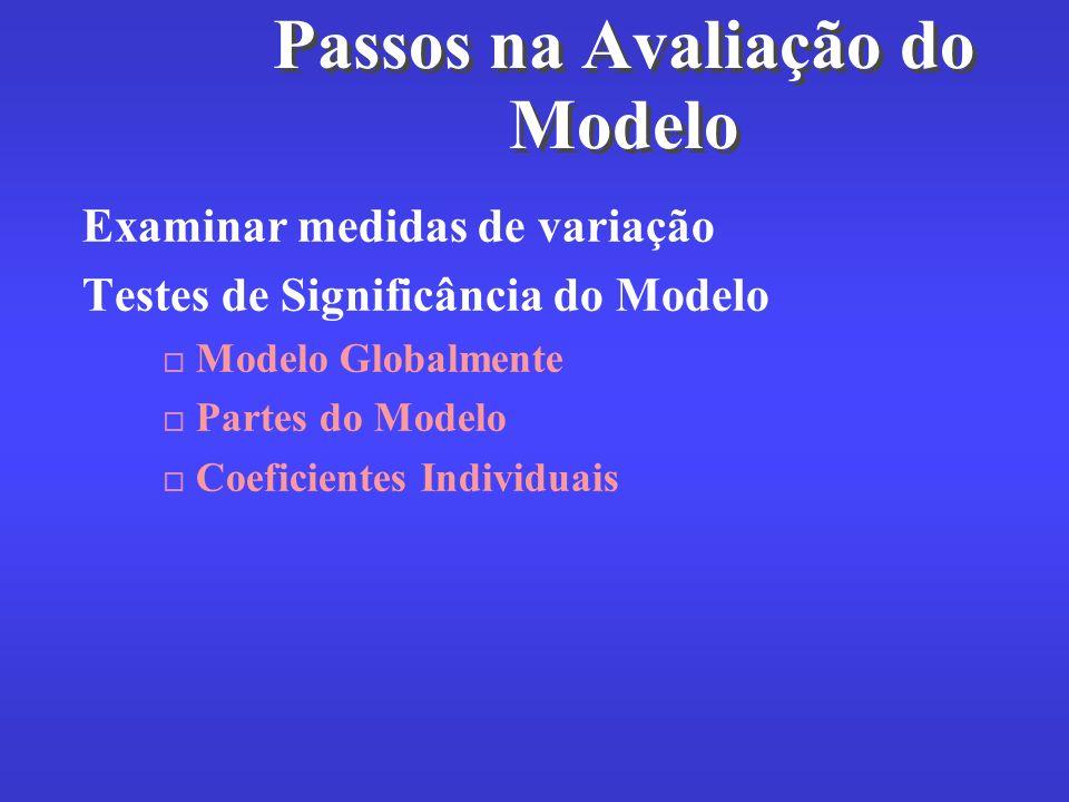 Passos na Avaliação do Modelo