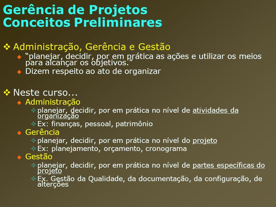 Gerência de Projetos Conceitos Preliminares