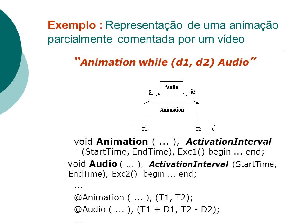 Exemplo : Representação de uma animação parcialmente comentada por um vídeo