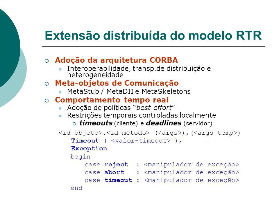 Extensão distribuída do modelo RTR
