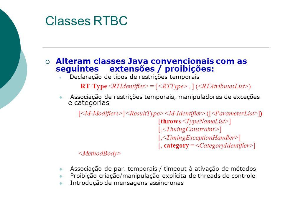 Classes RTBC Alteram classes Java convencionais com as seguintes extensões / proibições: Declaração de tipos de restrições temporais.