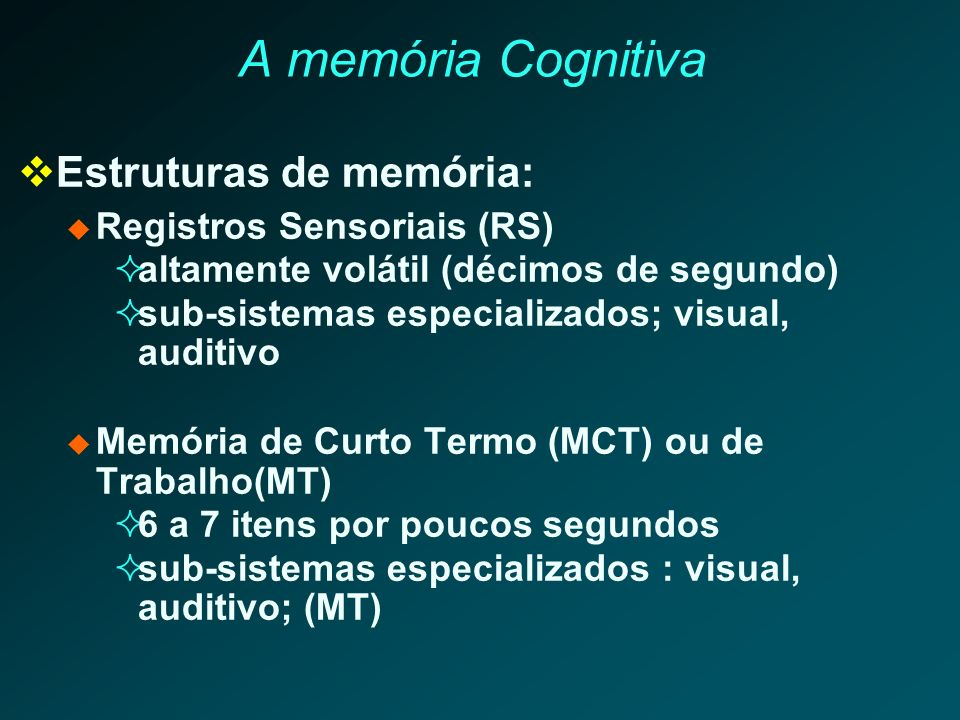 A memória Cognitiva Estruturas de memória: Registros Sensoriais (RS)