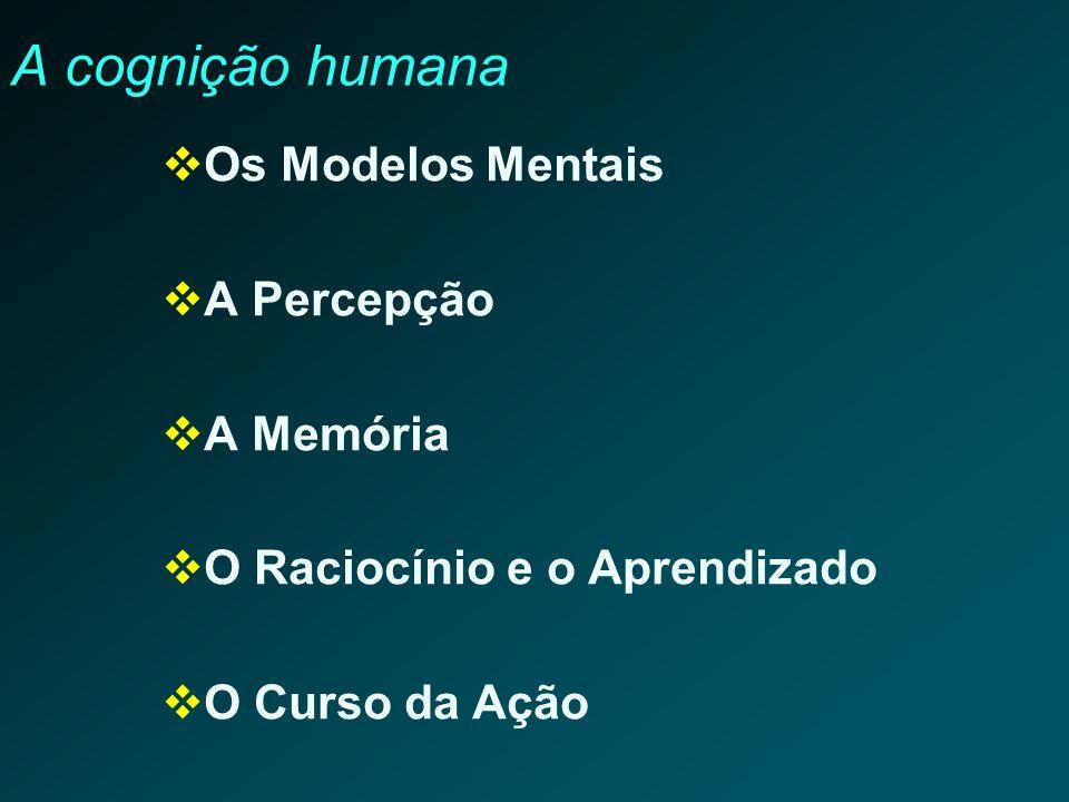 A cognição humana Os Modelos Mentais A Percepção A Memória