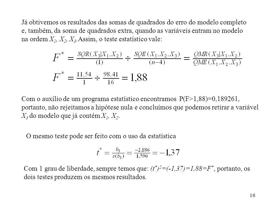 Já obtivemos os resultados das somas de quadrados do erro do modelo completo e, também, da soma de quadrados extra, quando as variáveis entram no modelo na ordem X1, X2, X3.Assim, o teste estatístico vale:
