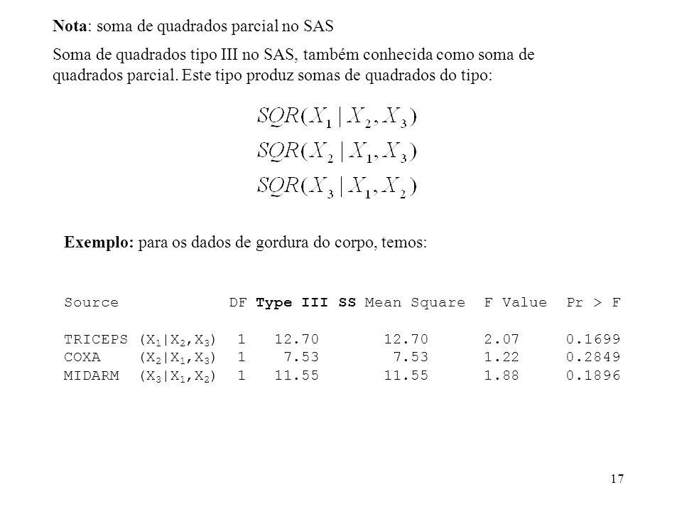 Nota: soma de quadrados parcial no SAS