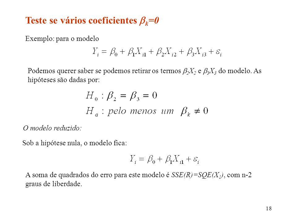 Teste se vários coeficientes k=0