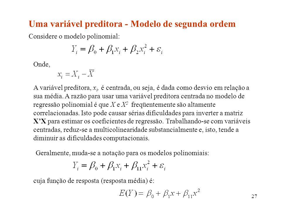 Uma variável preditora - Modelo de segunda ordem