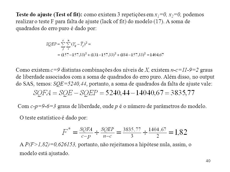Teste do ajuste (Test of fit): como existem 3 repetições em x1=0, x2=0, podemos realizar o teste F para falta de ajuste (lack of fit) do modelo (17). A soma de quadrados do erro puro é dado por: