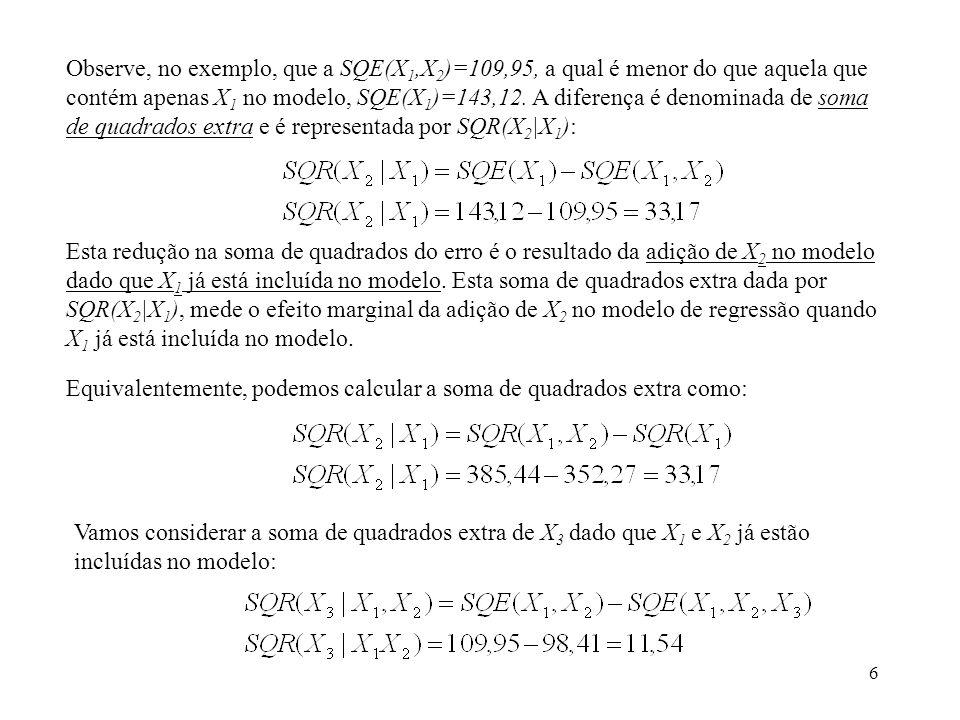 Observe, no exemplo, que a SQE(X1,X2)=109,95, a qual é menor do que aquela que contém apenas X1 no modelo, SQE(X1)=143,12. A diferença é denominada de soma de quadrados extra e é representada por SQR(X2|X1):