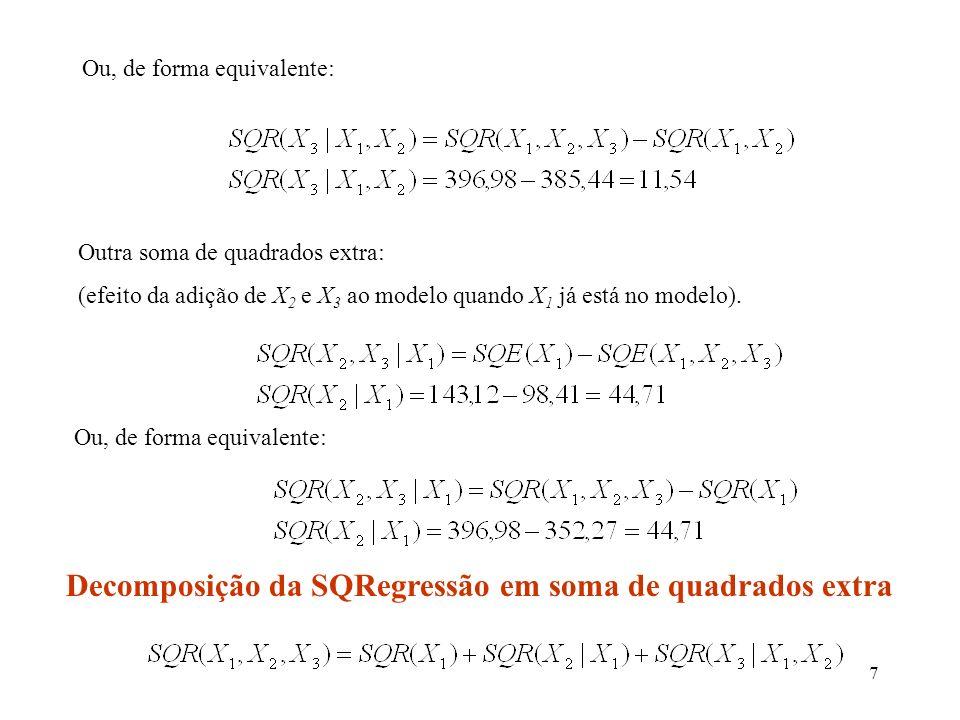 Decomposição da SQRegressão em soma de quadrados extra