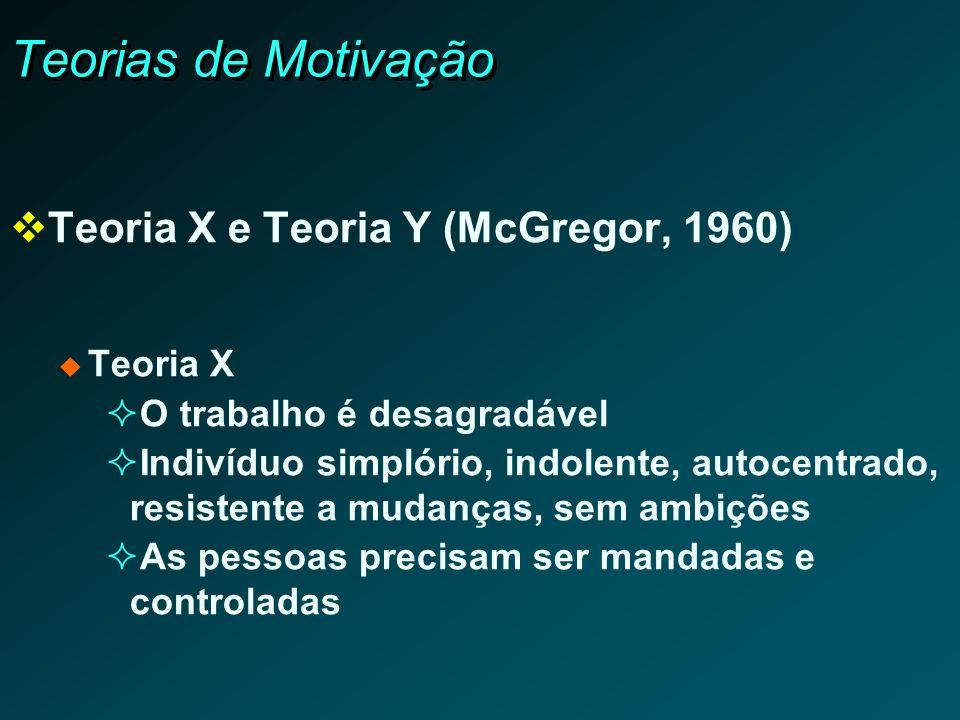 Teorias de Motivação Teoria X e Teoria Y (McGregor, 1960) Teoria X