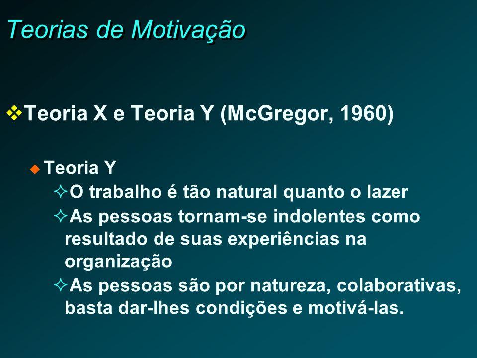Teorias de Motivação Teoria X e Teoria Y (McGregor, 1960) Teoria Y
