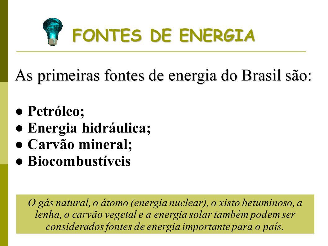 As primeiras fontes de energia do Brasil são: