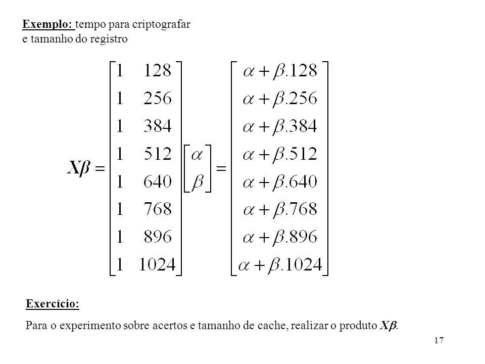 Exemplo: tempo para criptografar e tamanho do registro